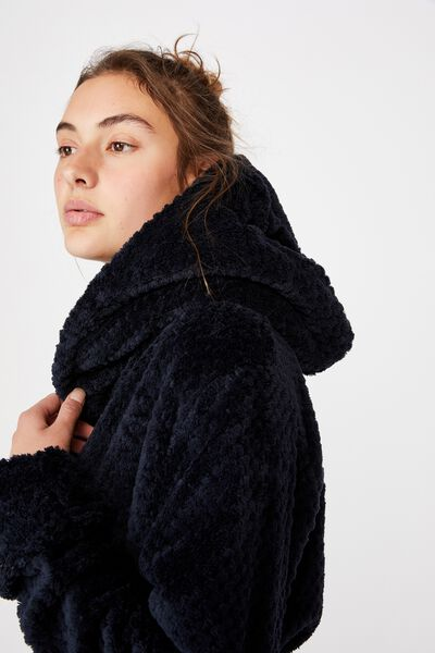 Hooded Luxe Plush Gown, NAVY TEXTURED