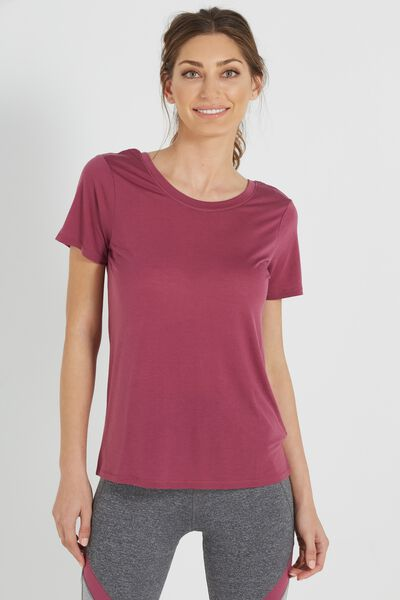Cross Back T Shirt, WILD ROSE MARLE