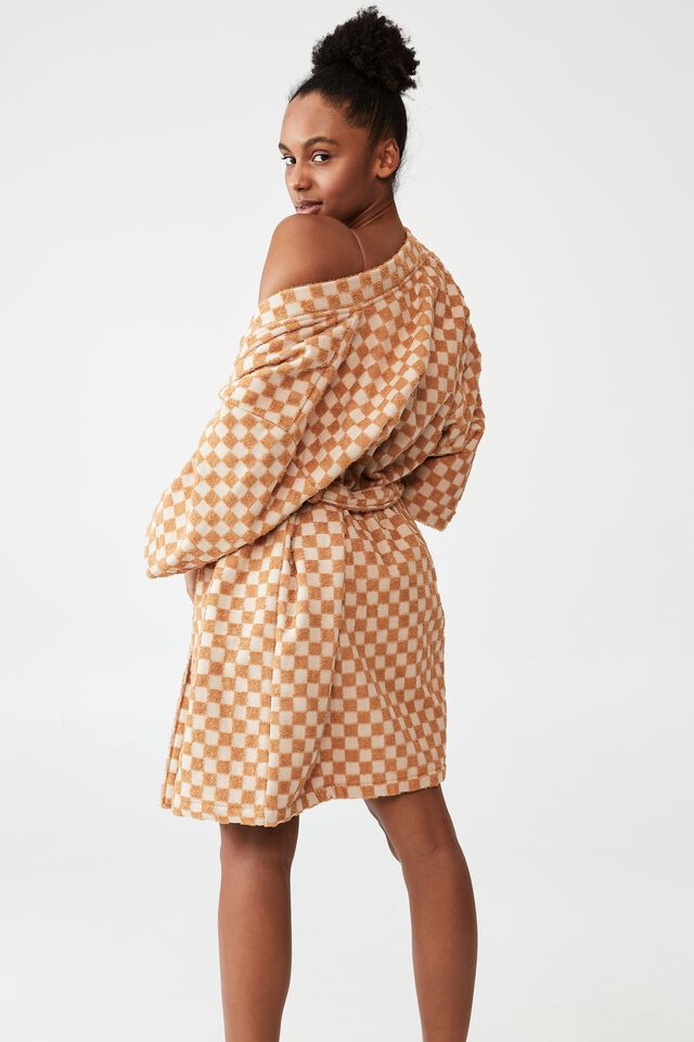 Towelling Robe, CHEEKY CHECKERBOARD/BUTTER SCOTCH