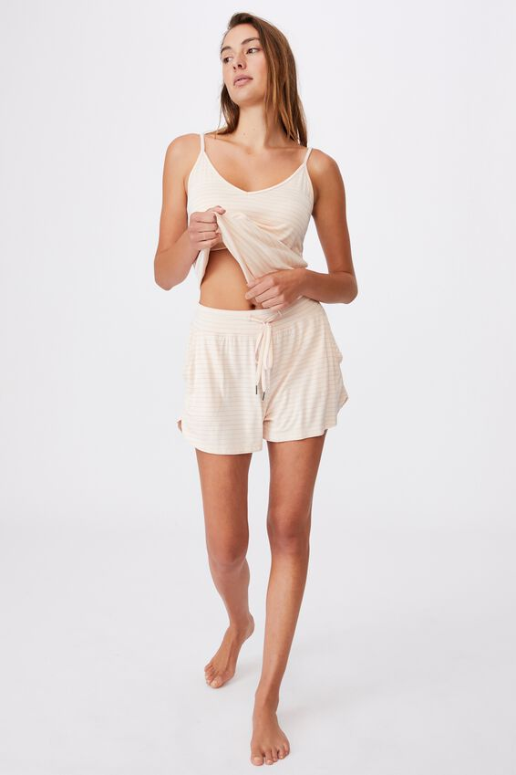 Sleep Recovery Pocket Short, SLENDER STRIPE BUTTERMILK