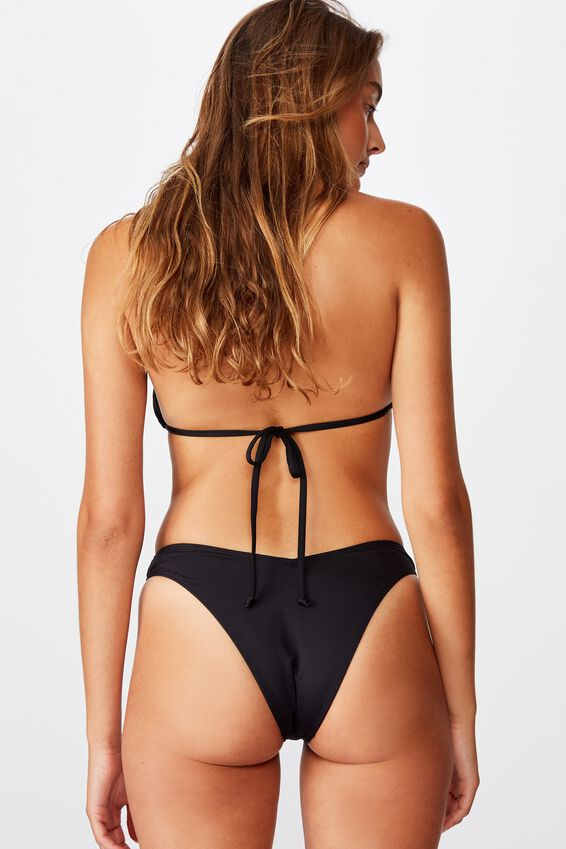 Renewed High Side Brazilian Bikini Bottom, BLACK
