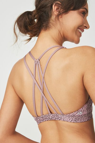 Recycled Strappy Sports Crop, SPRAY SPOT THISTLE