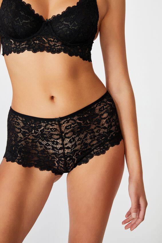 Ivy Lace Shorty Brief, BLACK
