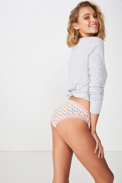 Smooth Lace Trim Bikini Brief, DIAMOND DAZE