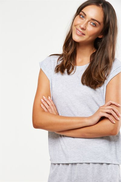 Rib Boxy T-Shirt, GREY MARLE