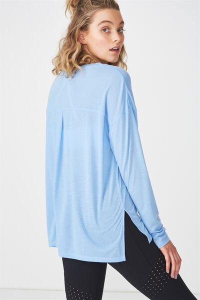 Long Sleeve Split Hem, WASHED ELECTRIC BLUE