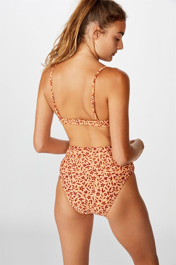 Highwaisted Banded Cheeky Bikini Bottom, APRICOT FLORAL RIB