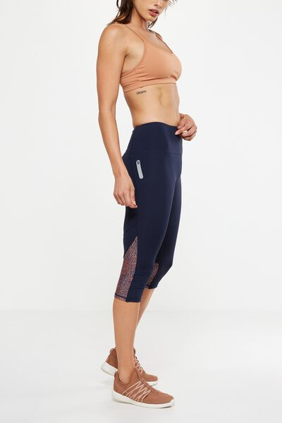 Run It Capri Tight, DARK INDIGO/SPOTTY SPRAY NAVY