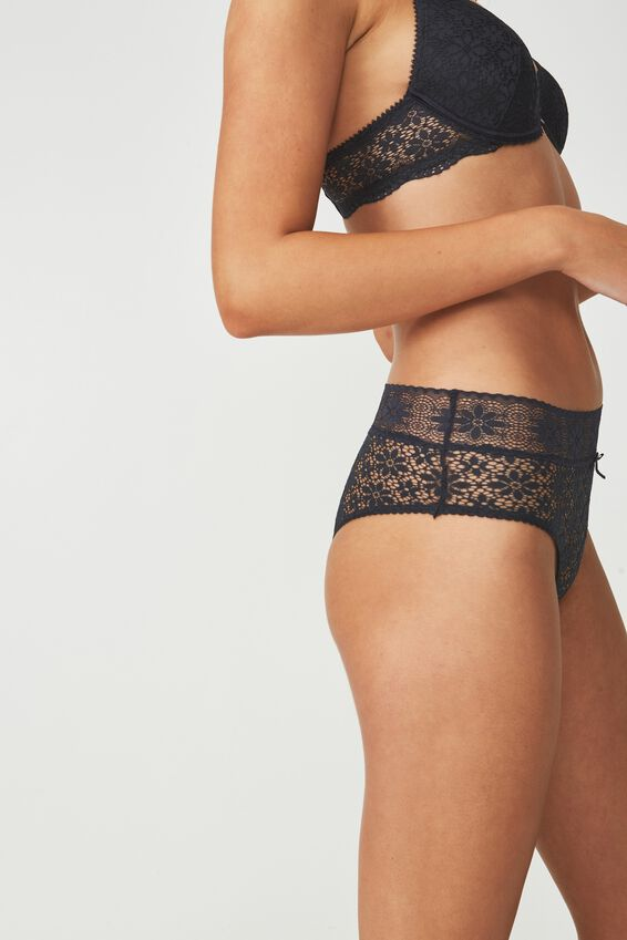 Jojo Allover Lace High Waist Brasiliano Brief, CHARCOAL