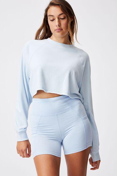 Lifestyle Crop Raglan Fleece, BABY BLUE