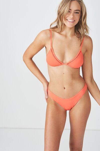 High Side Cut Cheeky Bikini Bottom, HOT CORAL