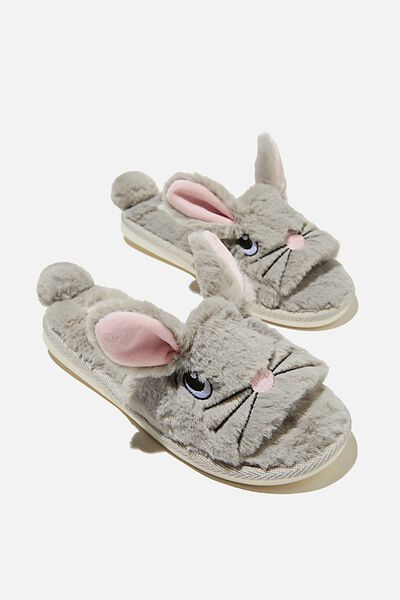 Novelty Slide Slipper, GREY EASTER BUNNY