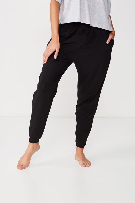 Jersey Cuffed Pant, BLACK