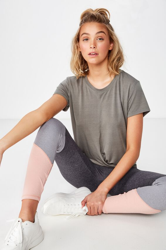Twist Front Tshirt, STEELY SHADOW