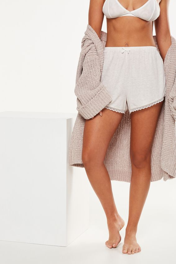 Rib Lace Short, NATURAL MARLE