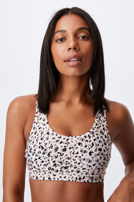 Strappy Sports Crop, BLOOMING LEOPARD NATURAL