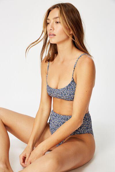 Scoop Crop Bralette Bikini Top, BLUE DITSY SHIRRED