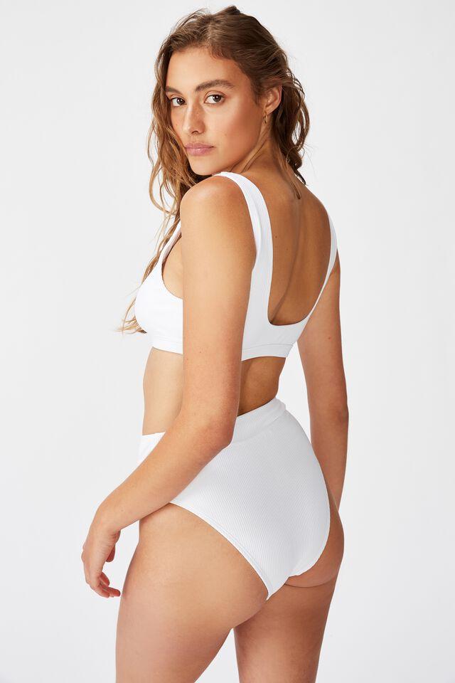 Highwaisted Banded Cheeky Bikini Bottom, WHITE RIB 20