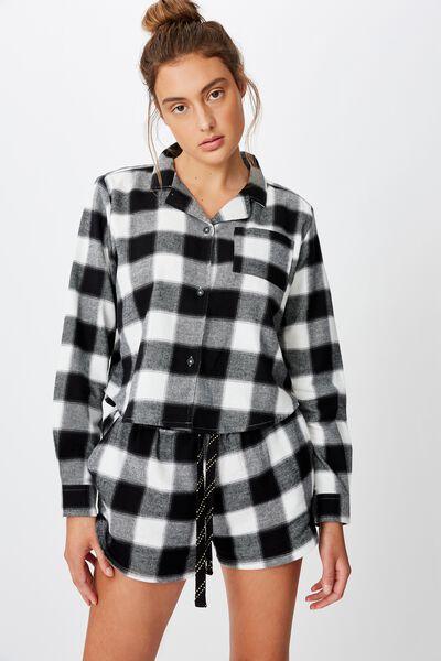 Flannel Sleep Short, SQUARE CHECK BLACK