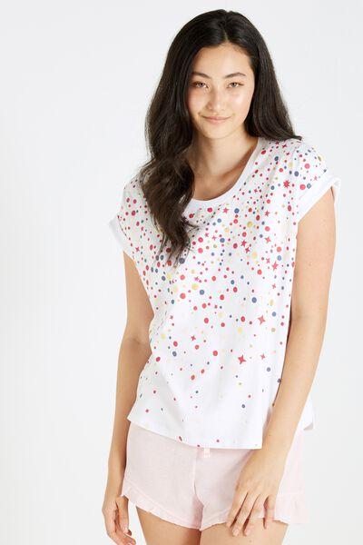 Match Back Short Sleeve Tshirt, WHITE SPARKLE SPOT