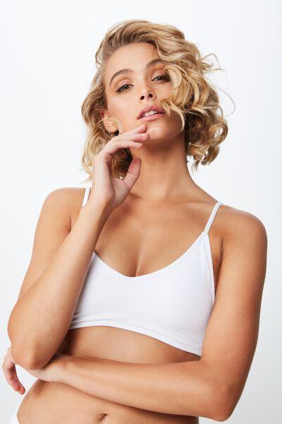 Lucie Rib V Neck Bralette Bikini Top, WHITE
