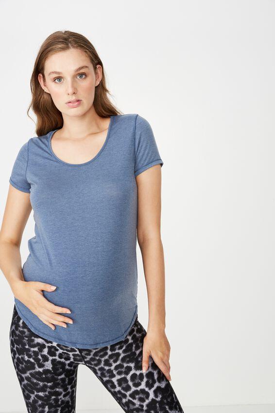 Maternity Gym T Shirt, STEEL BLUE MARLE