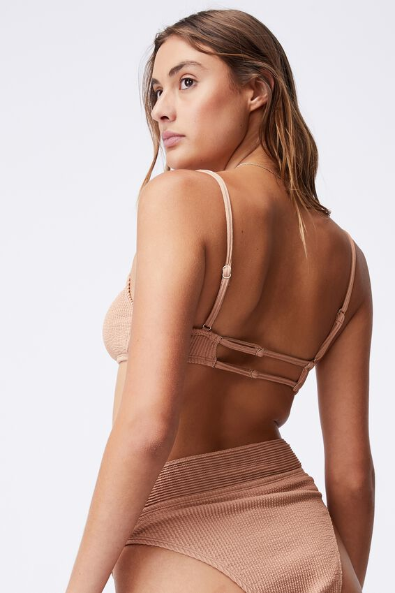 Gathered Front Backless Bikini Top Crinkle, LION BROWN CRINKLE