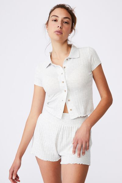 Knit Pointelle Polo, SOFT GREY MARLE