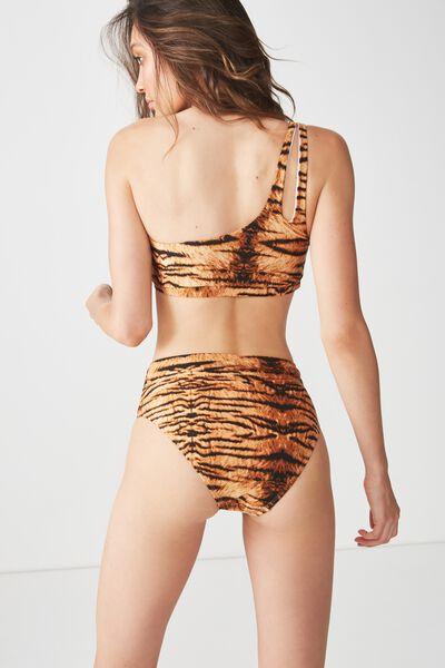 Vanessa Banded Highwaisted Cheeky Bikini Bottom, TIGER