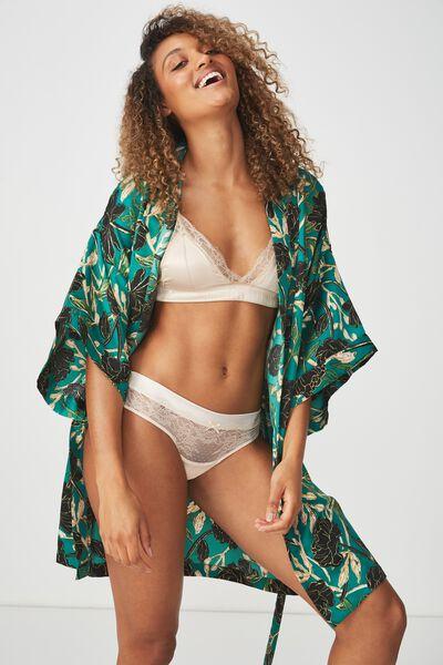 Kimono Gown, GREEN FLORAL