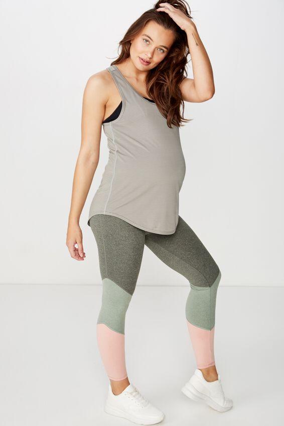 Maternity Training Tank Top, STEELY SHADOW STRIPE