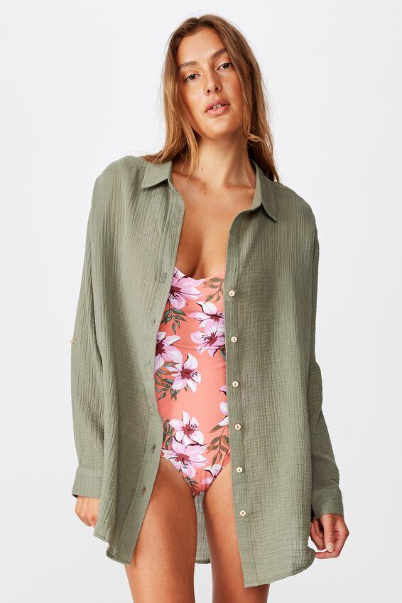 Oversized Beach Shirt, COOL AVOCADO
