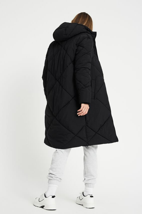The Recycled Mother Longline Puffer Jacket, BLACK