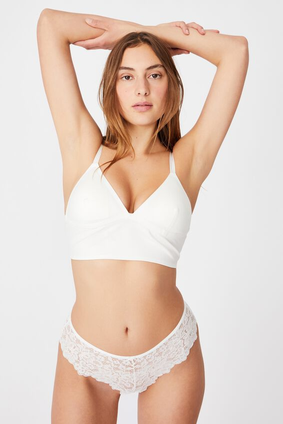 Everyday Bonded Longline Bralette With Cups, CREAM