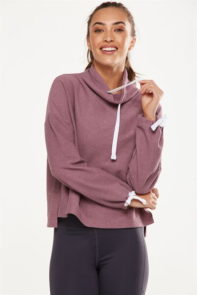 Tunnel Neck Long Sleeve Top, THISTLE MAUVE