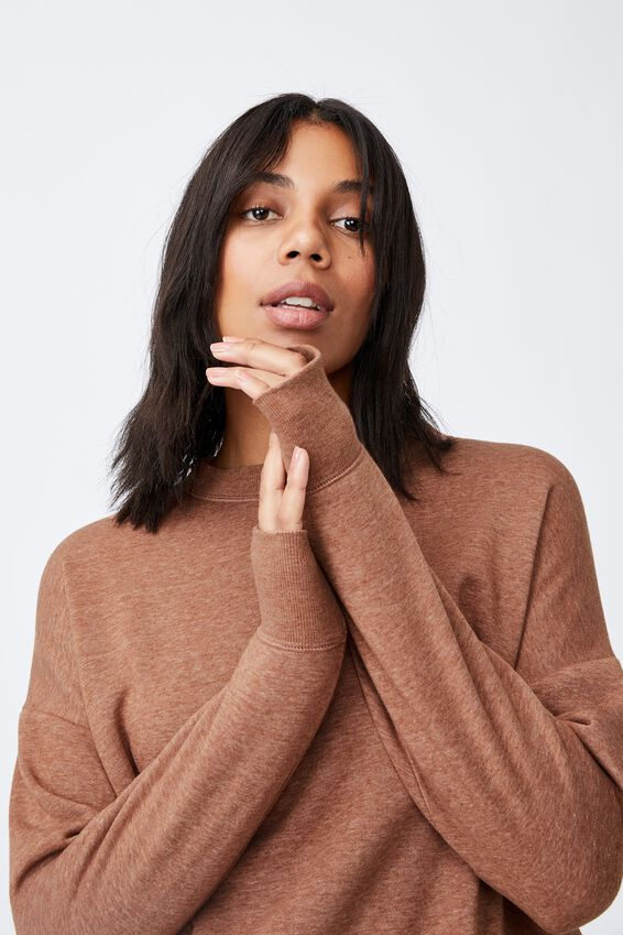 Lifestyle Long Sleeve Crew Top, CHESTNUT
