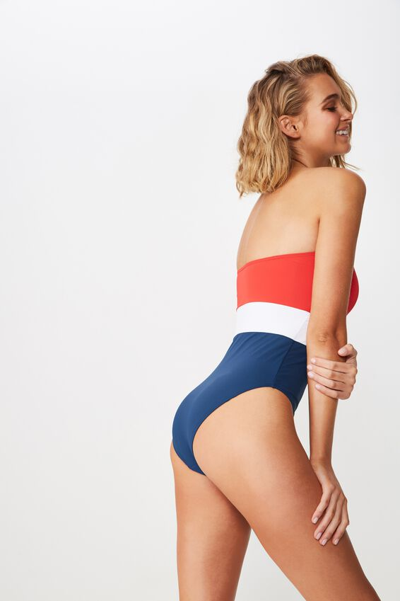 Naomi Spliced One Piece Cheeky, CHERRY RED/NIGHTBLUE