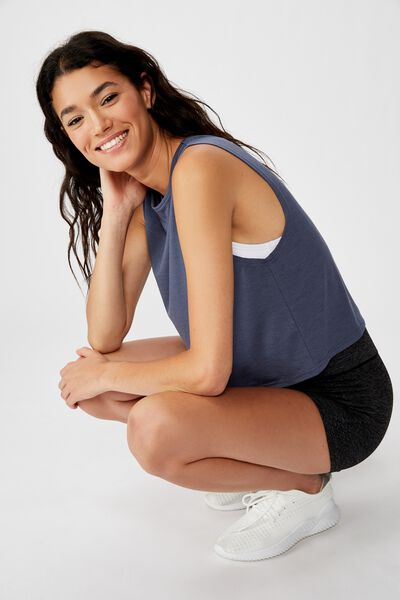 Cropped Active Muscle Tank, STORM BLUE