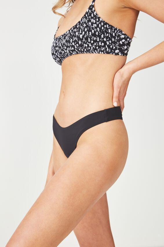 Edie Thong Bikini Bottom, BLACK