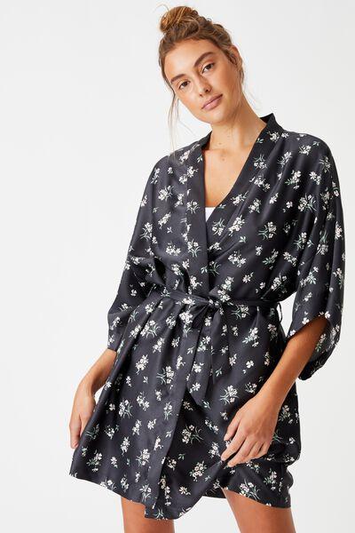 Satin Kimono Gown, MEADOW FLORAL/IRON
