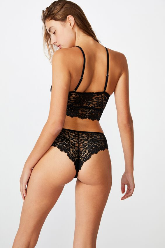 Ivy Lace Brasiliano Brief, BLACK
