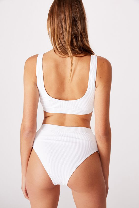 Side Ring Crop Bikini Top, WHITE RIB 20