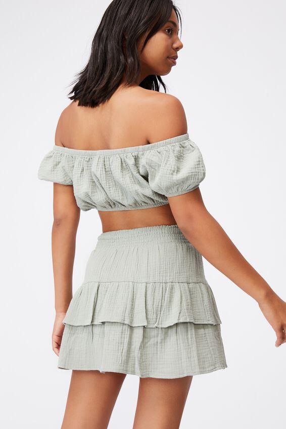 Double Ruffle Beach Skirt, KHAKI