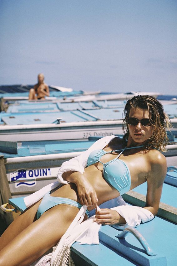 Gathered Bum Brazilian Bikini Bottom, TURQUOISE