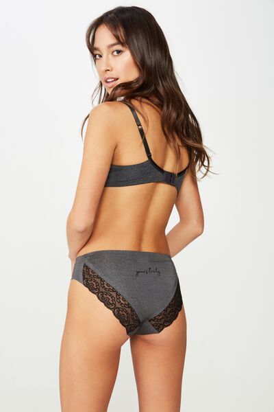 Personalised Party Pants Seamless Bikini Brief, CHARCOAL MARLE