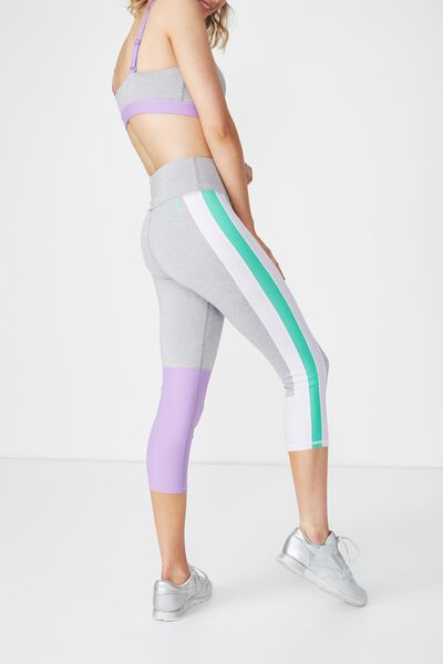 Colour Blocked Crop Tight, MID GREY MARLE/VIOLET FIZZ