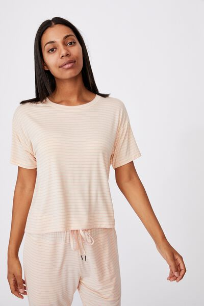 Sleep Recovery Crew T-Shirt, SLENDER STRIPE BUTTERMILK