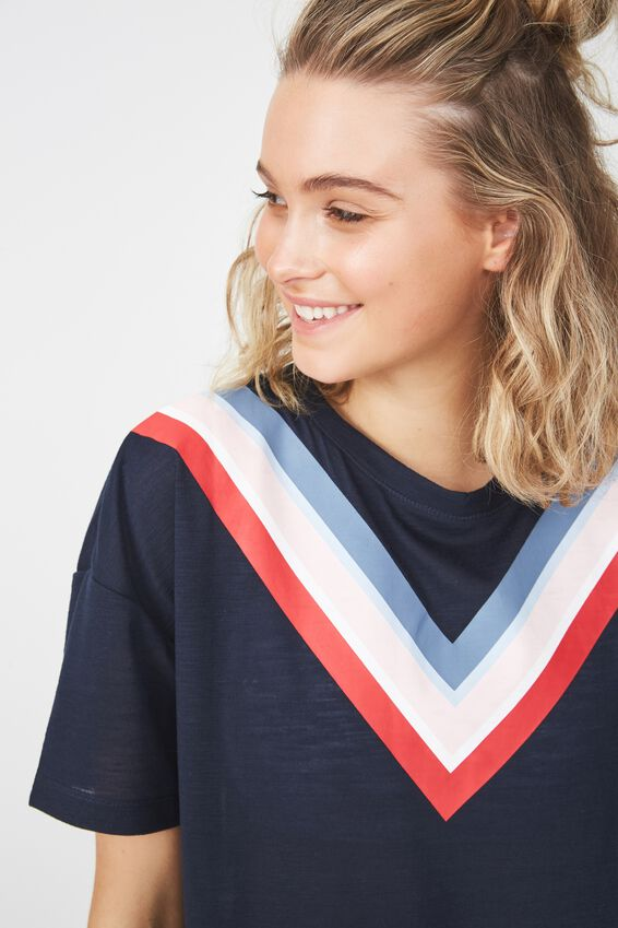 Boxy Slub T Shirt, NAVY / CHEVRON