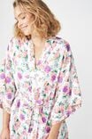 Kimono Gown, PURPLE BEAUTIFUL BLOOM/WHITE