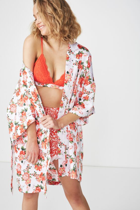 Kimono Gown, RED BEAUTIFUL BLOOM/WHITE